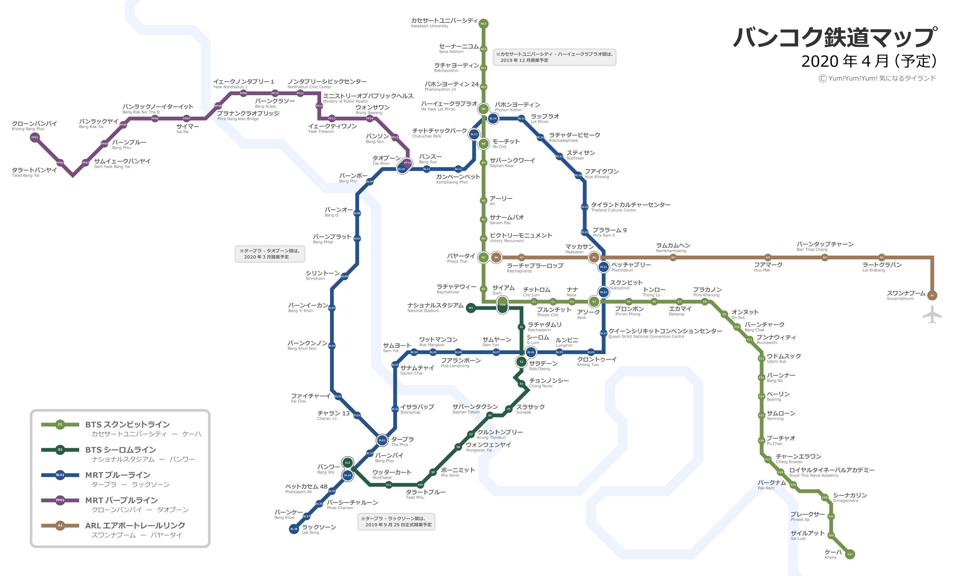 2019-2020年最新版バンコクBTS、MRT、ARL路線図